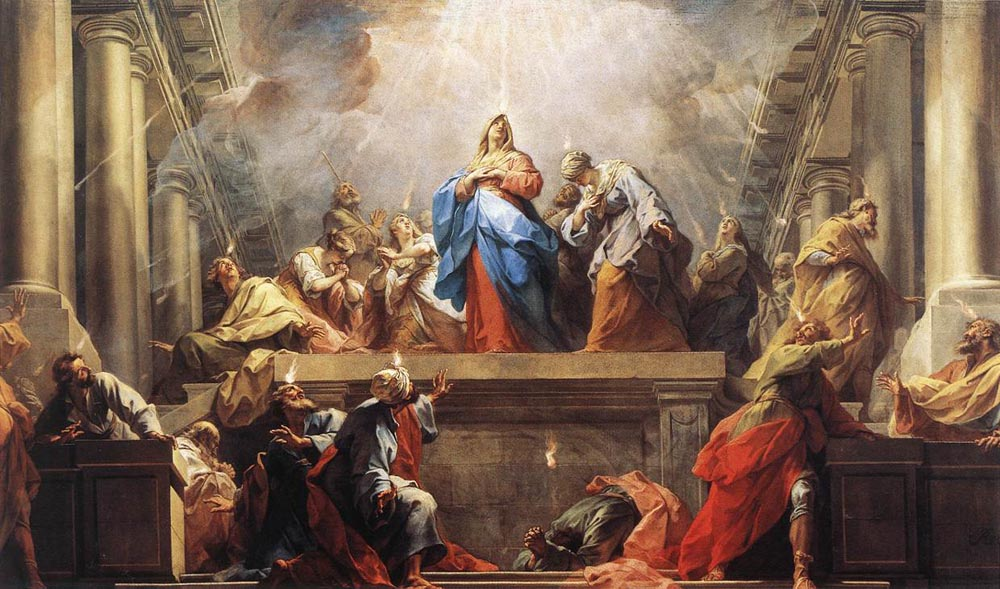 Mary and the Apostles gathered at Pentecost