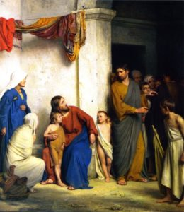 Christ with children by Carl Heinrich Bloch